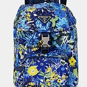 GORGEOUS~PRADA LEATHER TRIM FLORAL BACKPACK~